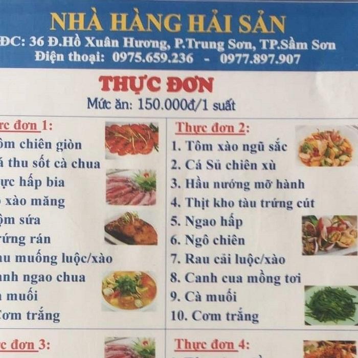 Thực đơn bình dân tại nhà hàng 36 Sầm Sơn