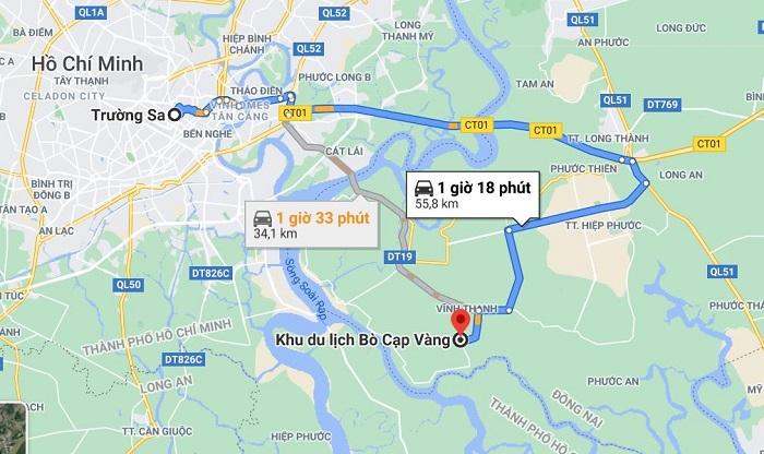 Từ TP.HCM đến khu du lịch Bọ Cạp Vàng cách khoảng 60km